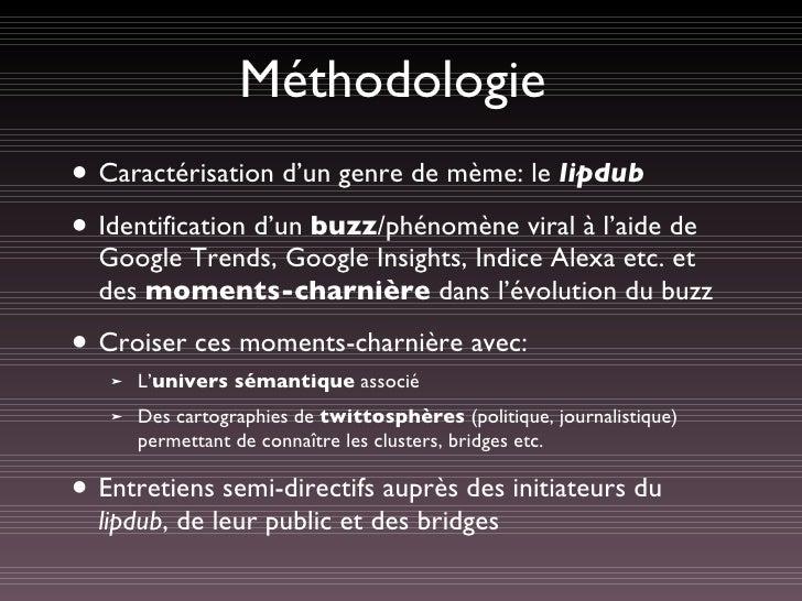 Méthodologie <ul><li>Caractérisation d'un genre de mème: le  lipdub </li></ul><ul><li>Identification d'un  buzz /phénomène...