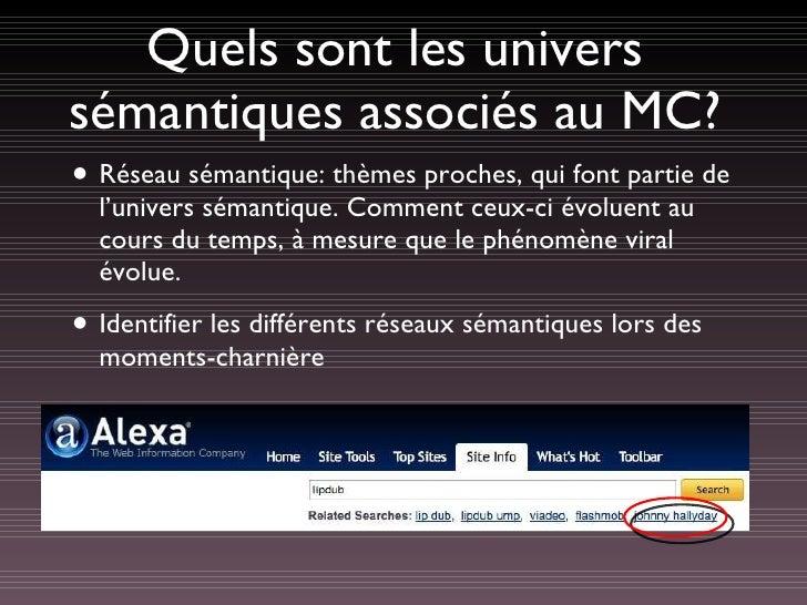 Quels sont les univers sémantiques associés au MC? <ul><li>Réseau sémantique: thèmes proches, qui font partie de l'univers...