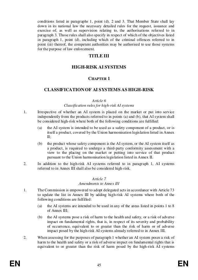 REGULATION OF THE EUROPEAN PARLIAMENT AND OF THE COUNCIL LAYING DOWN HARMONISED RULES ON ARTIFICIAL INTELLIGENCE