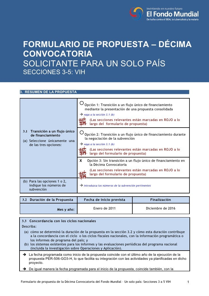 DÉCIMA CONVOCATORIA - VIH    FORMULARIO DE PROPUESTA – DÉCIMA  CONVOCATORIA  SOLICITANTE PARA UN SOLO PAÍS  SECCIONES 3-5:...