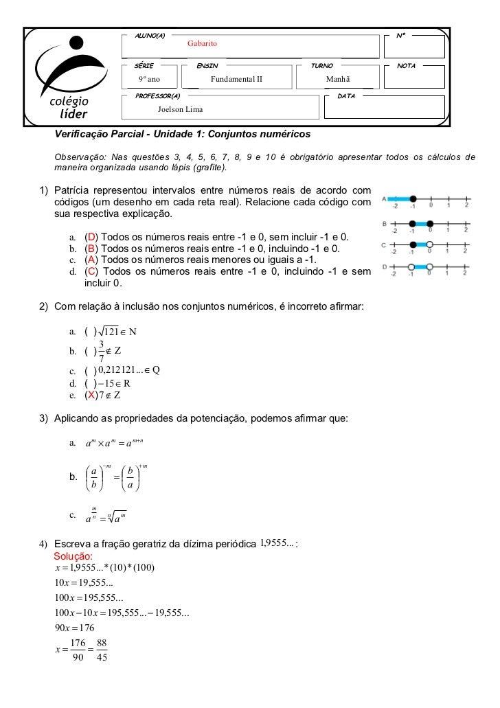 ALUNO(A)                                                Nº                                         Gabarito               ...