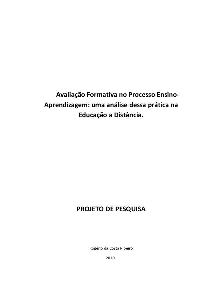 Avaliação Formativa no Processo Ensino-Aprendizagem: uma análise dessa prática na          Educação a Distância.          ...