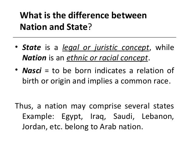 distinction between nation and state A student of political science fully realises and accepts the difference between state and government related articles: 9 major differences between state and nation.