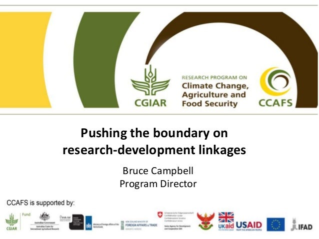 Pushing the boundary on research-development linkages Bruce Campbell Program Director