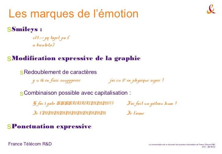 Les marques de l'émotionsSmileys :          slt ;-> pq tapel pa :(          a bientot;o)sModification expressive de la gra...