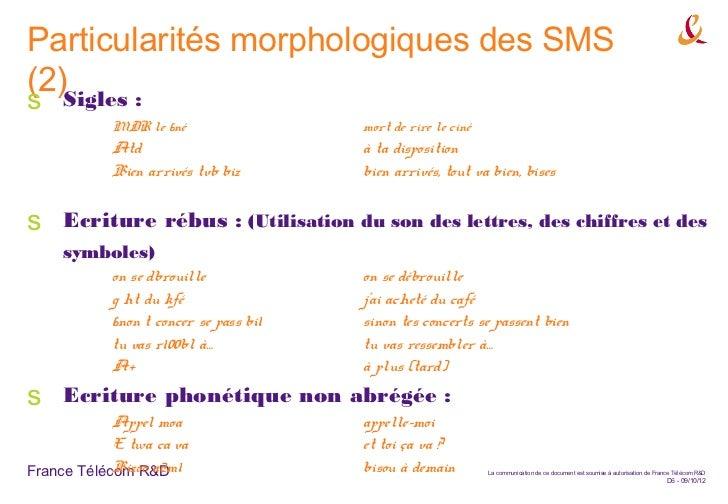 Particularités morphologiques des SMS(2)Sigles :s            MDR le 6né                  mort de rire le ciné            A...