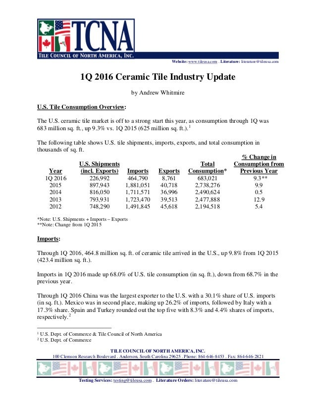 Website: www.tileusa.com . Literature: literature@tileusa.com TILE COUNCIL OF NORTH AMERICA, INC. 100 Clemson Research Bou...