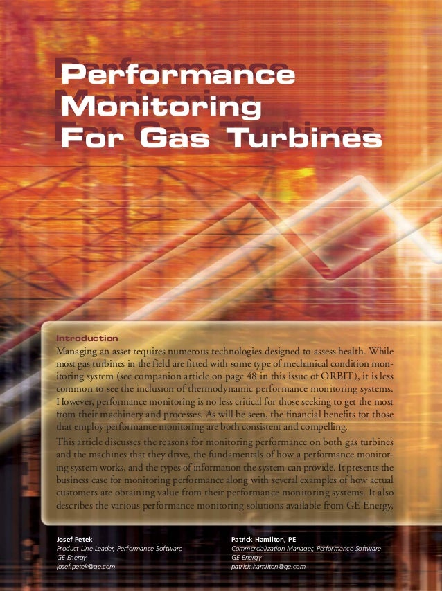 Performance Performance Monitoring Monitoring For Gas Turbines For Gas Turbines  Introduction  Managing an asset requires ...