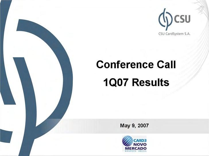1 q07 results presentation