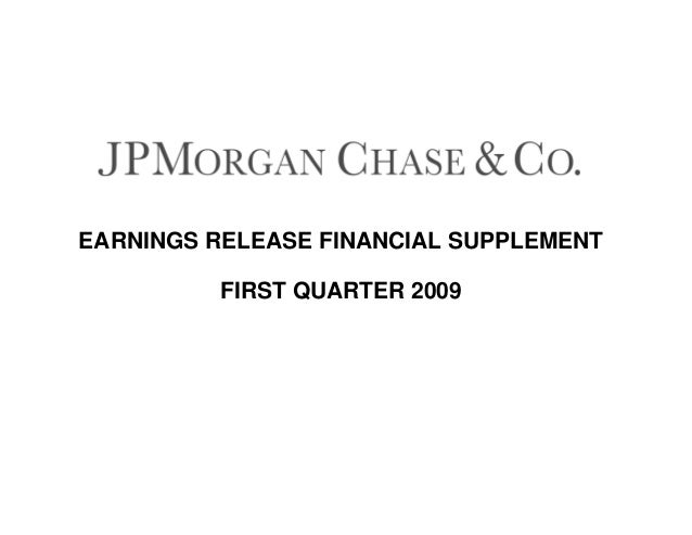 EARNINGS RELEASE FINANCIAL SUPPLEMENT FIRST QUARTER 2009