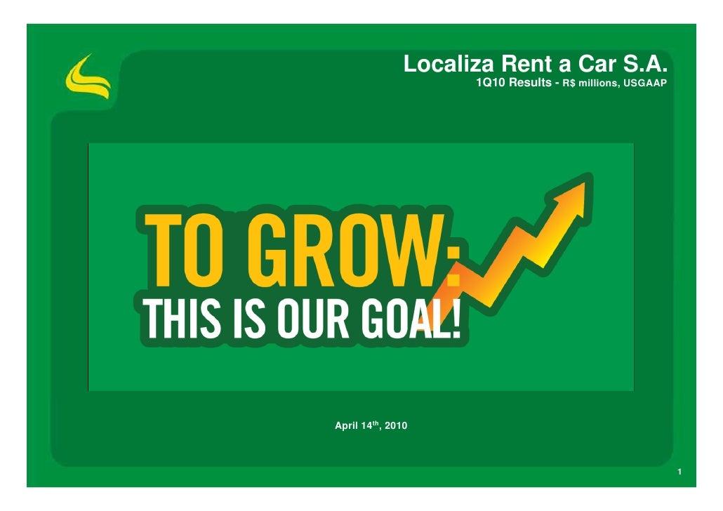 Localiza Rent a Car S.A.                     1Q10 Results - R$ millions, USGAAP     April 14th, 2010                      ...
