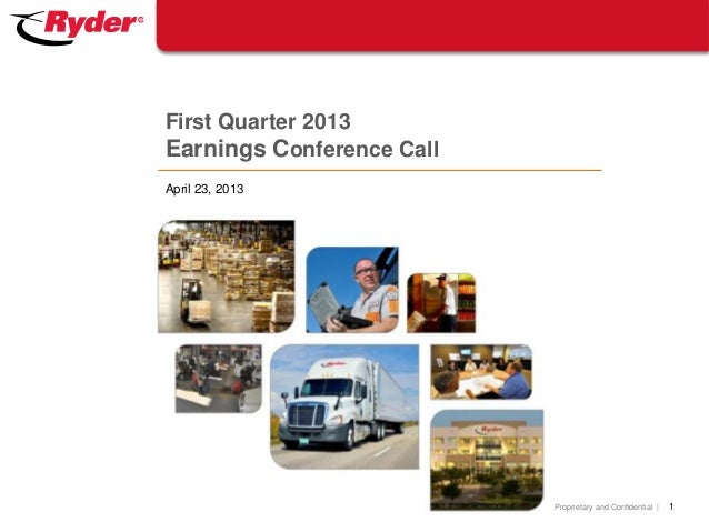 Proprietary and Confidential  April 23, 2013First Quarter 2013Earnings Conference Call1