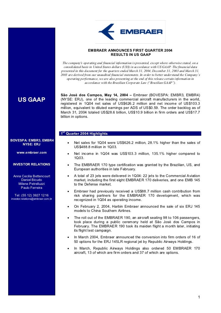 EMBRAER ANNOUNCES FIRST QUARTER 2004                                                                RESULTS IN US GAAP    ...