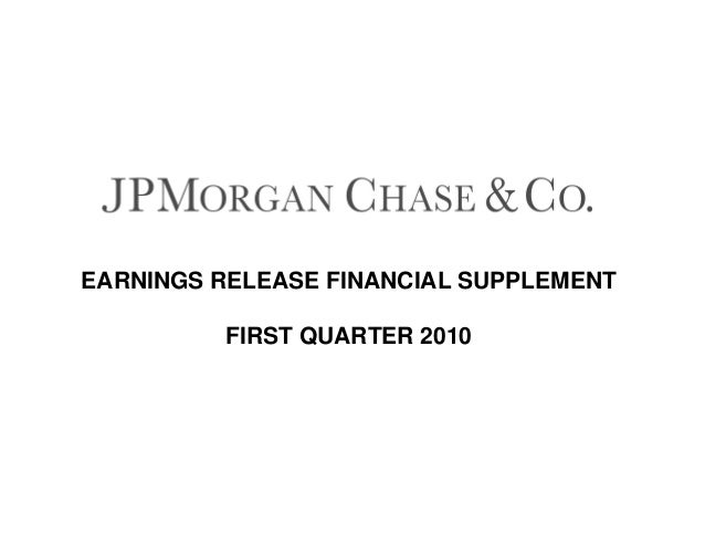 EARNINGS RELEASE FINANCIAL SUPPLEMENT FIRST QUARTER 2010