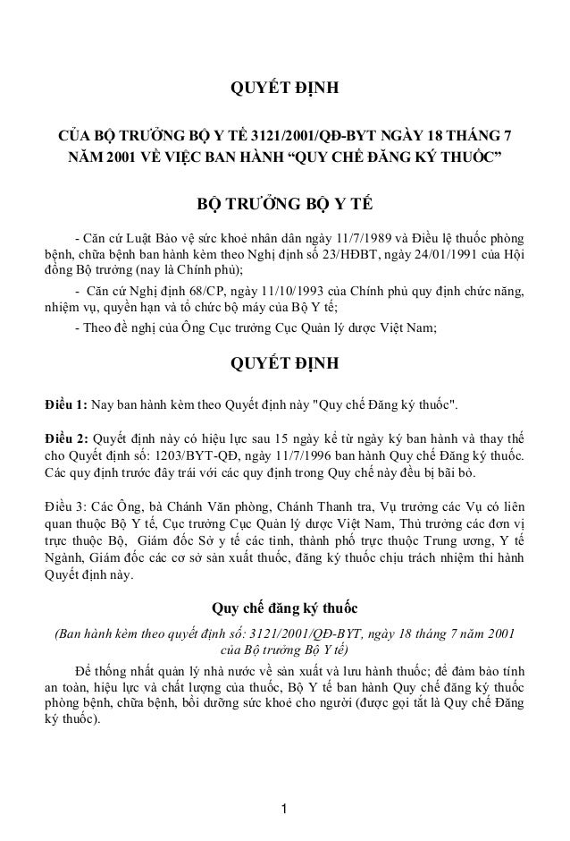 """QUYẾT ĐỊNH CỦA BỘ TRƯỞNG BỘ Y TẾ 3121/2001/QĐ-BYT NGÀY 18 THÁNG 7 NĂM 2001 VỀ VIỆC BAN HÀNH """"QUY CHẾ ĐĂNG KÝ THUỐC"""" BỘ TRƯ..."""