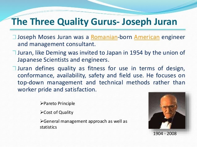 juran 14 point For continuous improvement as well as deming's 14 points of management and 14 principles both of which pin point areas that need to be changed  14 pages juran.