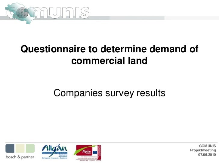 Questionnaire to determine demand of          commercial land      Companies survey results                               ...