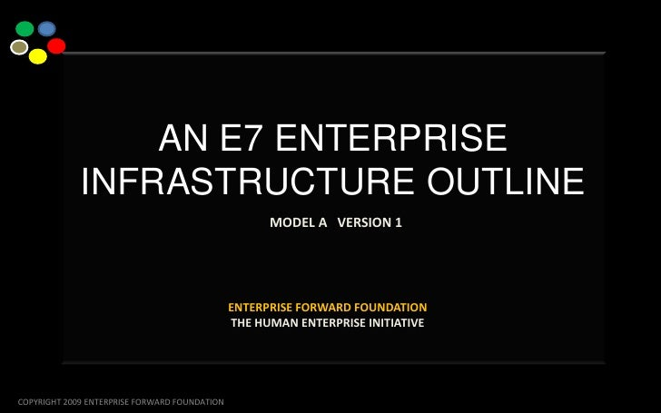 …<br />AN E7 ENTERPRISE INFRASTRUCTURE OUTLINEMODEL A   VERSION 1<br />ENTERPRISE FORWARD FOUNDATIONTHE HUMAN ENTERPRISE I...