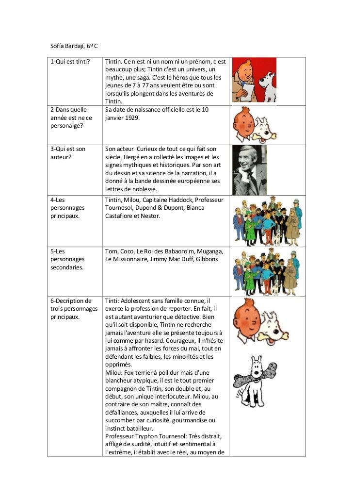 Sofía Bardají, 6º C1-Qui est tinti?      Tintin. Ce nest ni un nom ni un prénom, cest                      beaucoup plus; ...