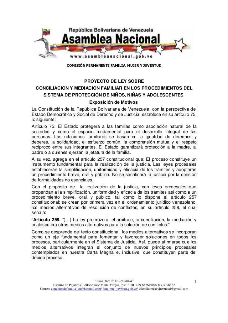COMISIÓN PERMANENTE FAMILIA, MUJER Y JUVENTUD                                 PROYECTO DE LEY SOBRE  CONCILIACION Y MEDIAC...