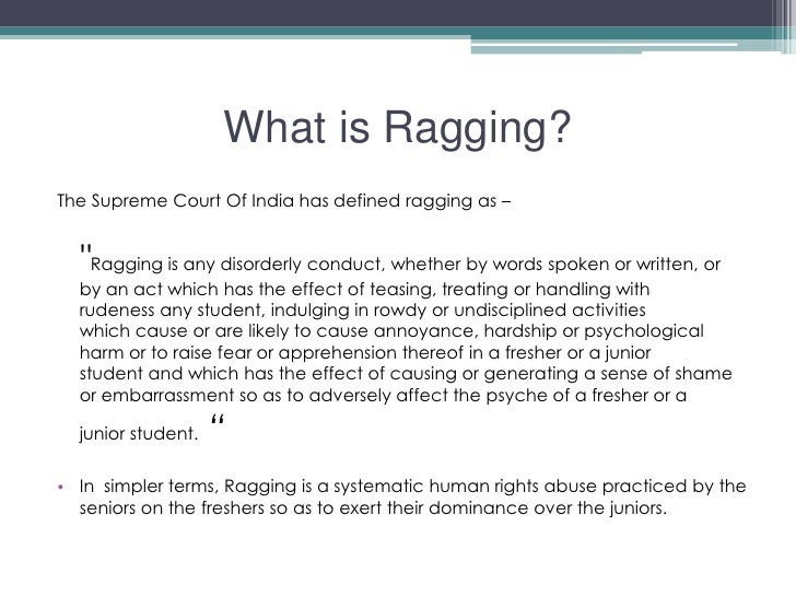 essay writing on ragging should be banned