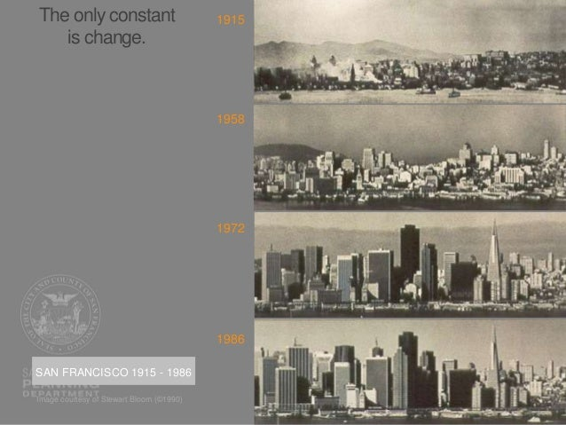 The only constant is change. SAN FRANCISCO 1915 - 1986 1915 1958 1972 1986 Image courtesy of Stewart Bloom (©1990)
