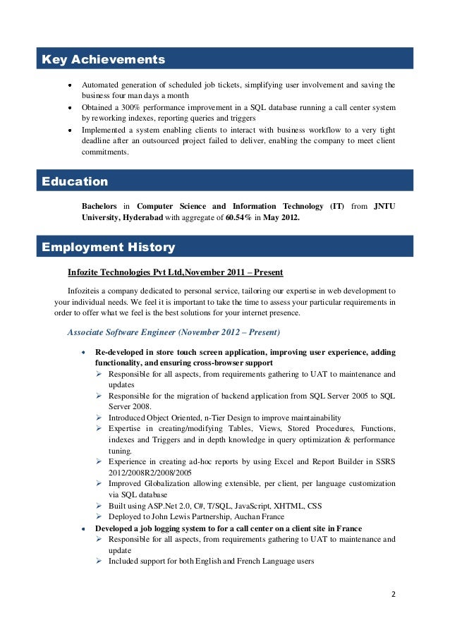 sample resume for 2 years experience Kenicandlecomfortzonecom