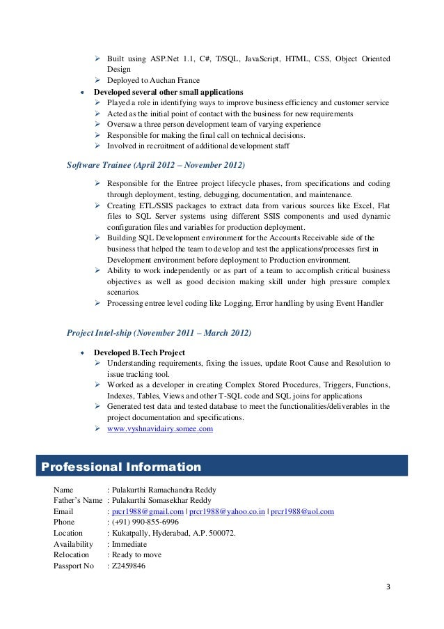 Net Resume For 3 Years Experience Professional User Manual Ebooks