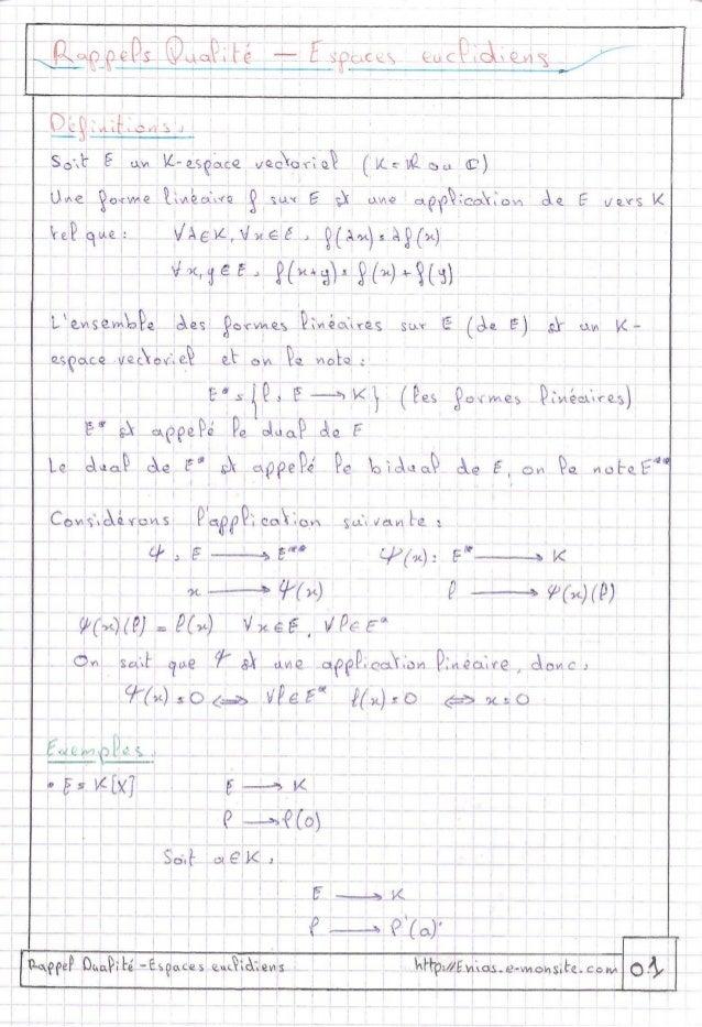 1) rappel dualité - espace euclidiens