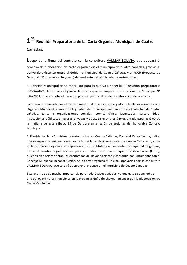 1ra Reunión Preparatoria de la Carta Orgánica Municipal de CuatroCañadas.Luego de la firma del contrato con la consultora ...