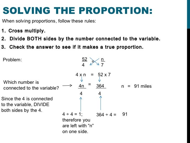 Proportion method algebra