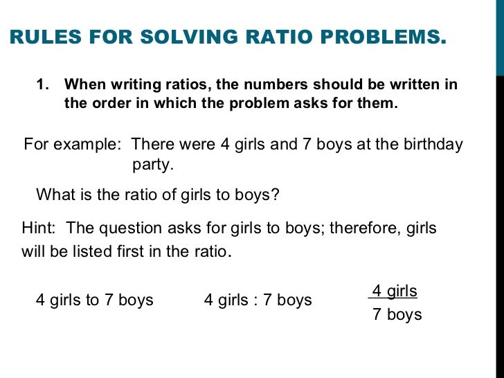 ways to write ratios People often explain ratios as comparisons between two things it is a statement that shows how one item compares to another ratios are written in several different ways, including as fractions.