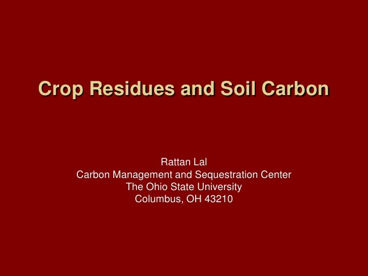 Crop Residues and Soil Carbon<br />Rattan Lal<br />Carbon Management and Sequestration Center<br />The Ohio State Universi...