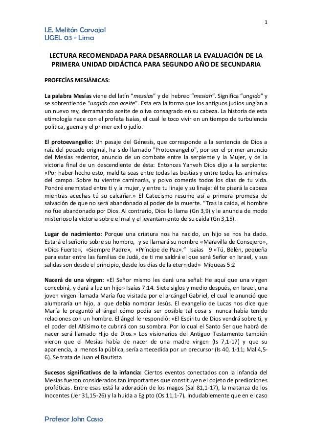 1 I.E. Melitón Carvajal UGEL 03 - Lima Profesor John Casso LECTURA RECOMENDADA PARA DESARROLLAR LA EVALUACIÓN DE LA PRIMER...