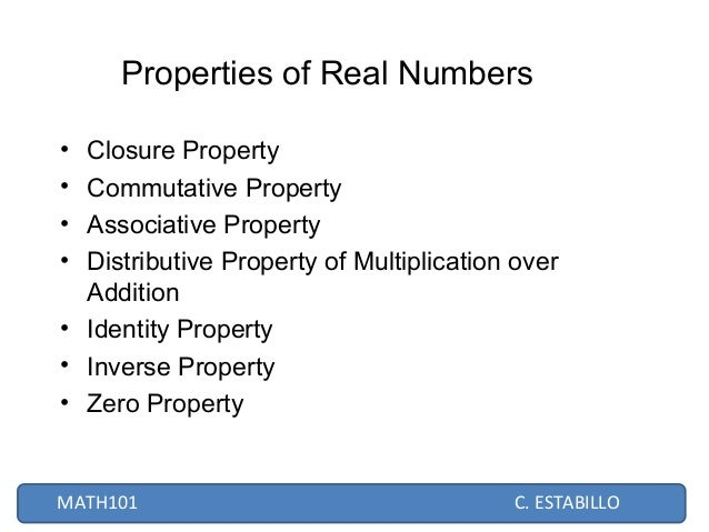 Real numbers estabillo 11 properties of real numbers ccuart Image collections