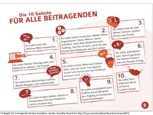 10 Regeln für Vortragende bei den Socialbars. Quelle: Socialbar Broschüre http://issuu.com/socialbar/docs/broschuere2012