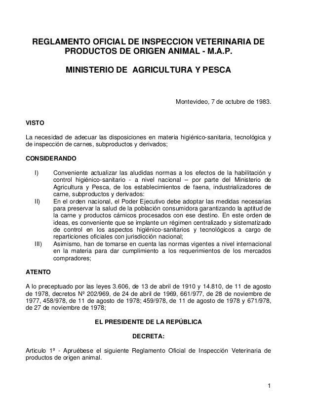 REGLAMENTO OFICIAL DE INSPECCION VETERINARIA DE PRODUCTOS DE ORIGEN ANIMAL - M.A.P. MINISTERIO DE AGRICULTURA Y PESCA  Mon...