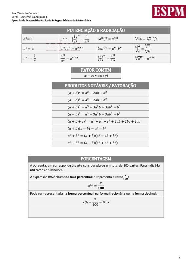 aProf. VeraniseDubeuxESPM - Matemática Aplicada IApostila de Matemática Aplicada I- Regras básicas da Matemática          ...