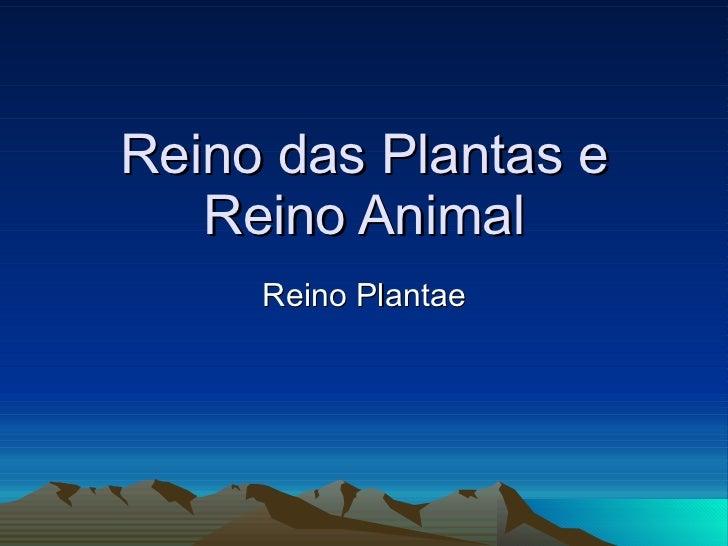 Reino das Plantas e Reino Animal Reino Plantae