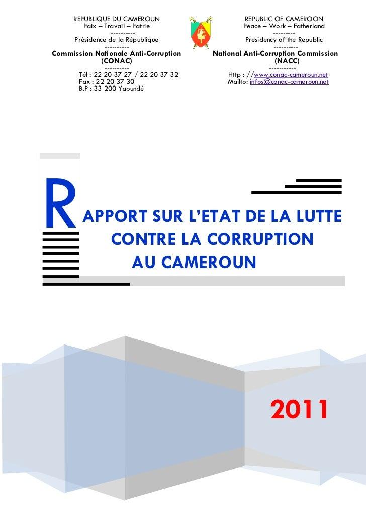REPUBLIQUE DU CAMEROUN                     REPUBLIC OF CAMEROON         Paix – Travail – Patrie                 Peace – Wo...