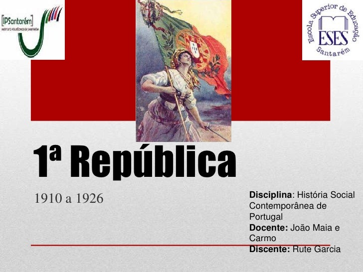 1ª República               Disciplina: História Social1910 a 1926    Contemporânea de               Portugal              ...