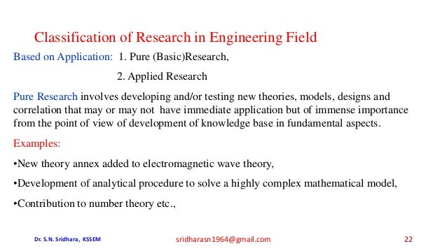 Classification of Research in Engineering Field Based on Application: 1. Pure (Basic)Research, 2. Applied Research Pure Re...