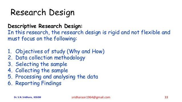 Research Design Descriptive Research Design: In this research, the research design is rigid and not flexible and must focu...