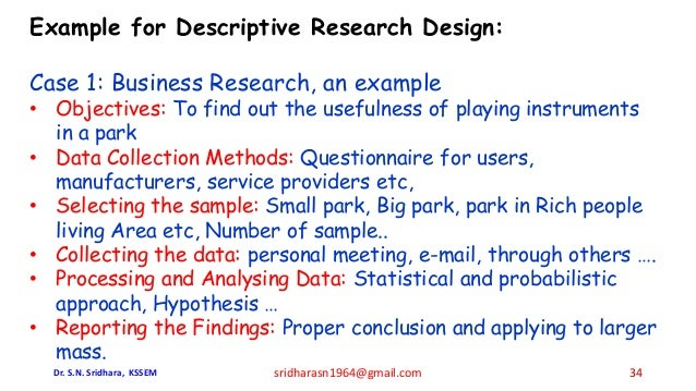 Example for Descriptive Research Design: Case 1: Business Research, an example • Objectives: To find out the usefulness of...