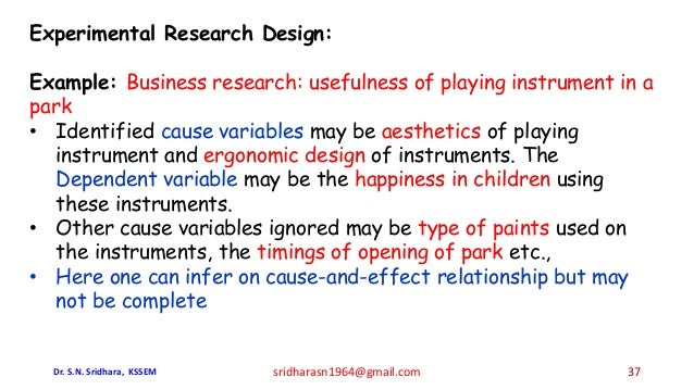 Experimental Research Design: Example: Business research: usefulness of playing instrument in a park • Identified cause va...