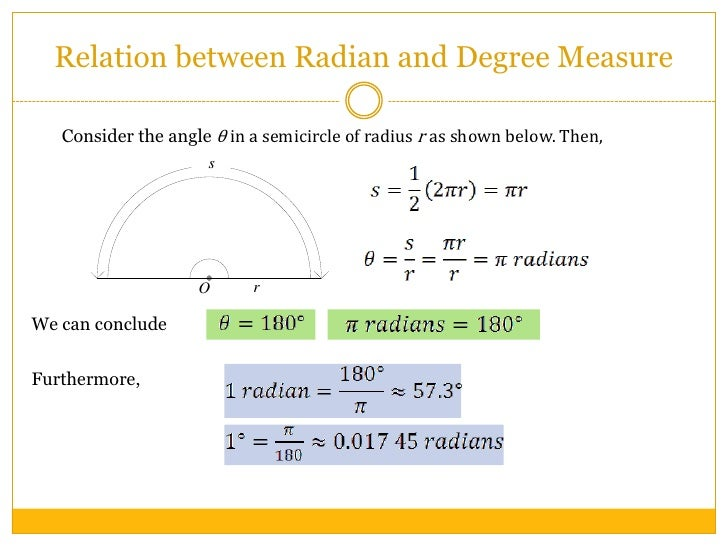 1 resource radian measure and arc length 7 relation between radian and degree measurebr consider the angle in a semicircle of radius ccuart Gallery