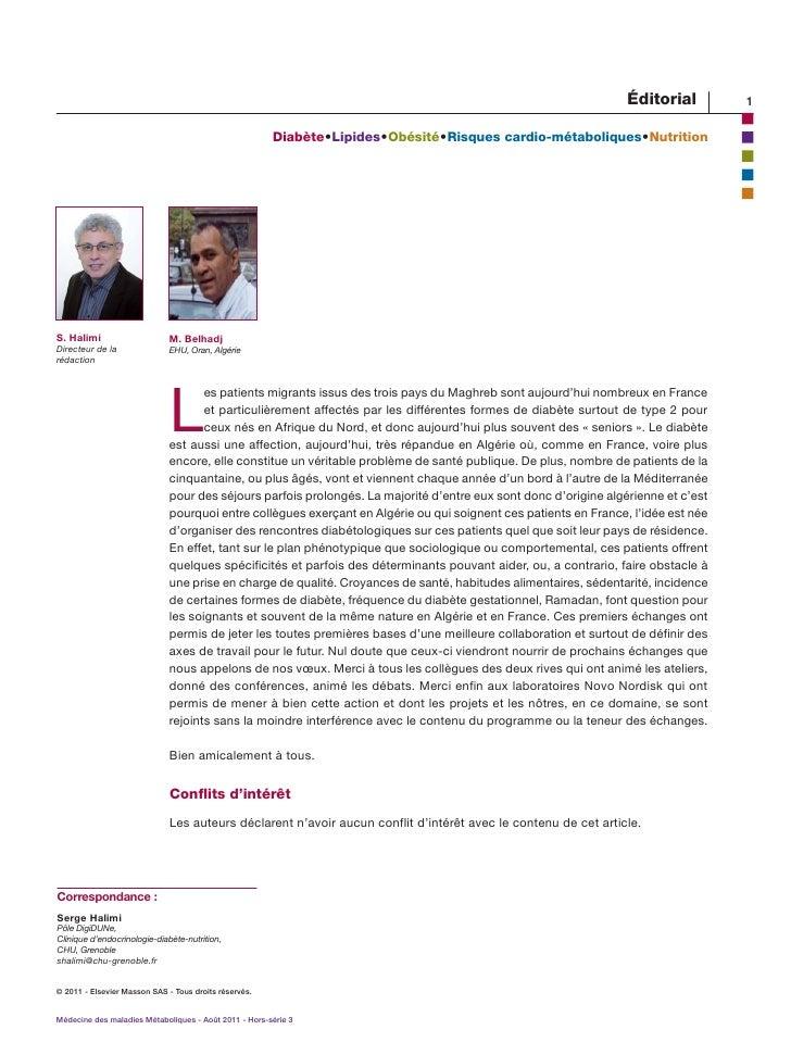 éditorial         1                                                       Diabète  ipides  bésité  isques cardio-mét...