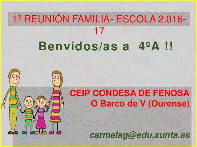 CEIP CONDESA DE FENOSA O Barco de V (Ourense) carmelag@edu.xunta.es Benvidos/as a 4ºA !! 1ª REUNIÓN FAMILIA- ESCOLA 2.016-...