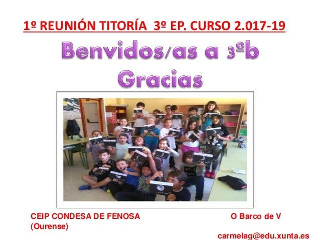 CEIP CONDESA DE FENOSA O Barco de V (Ourense) carmelag@edu.xunta.es 1º REUNIÓN TITORÍA 3º EP. CURSO 2.017-19