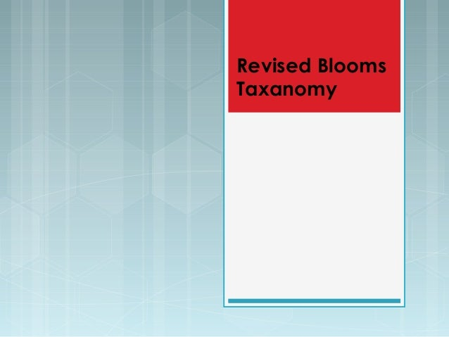 Revised Blooms Taxanomy